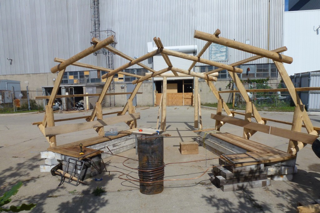 QnA Design Nuit Blanche Primal hug Heated bench Warming hut 06 work in progress
