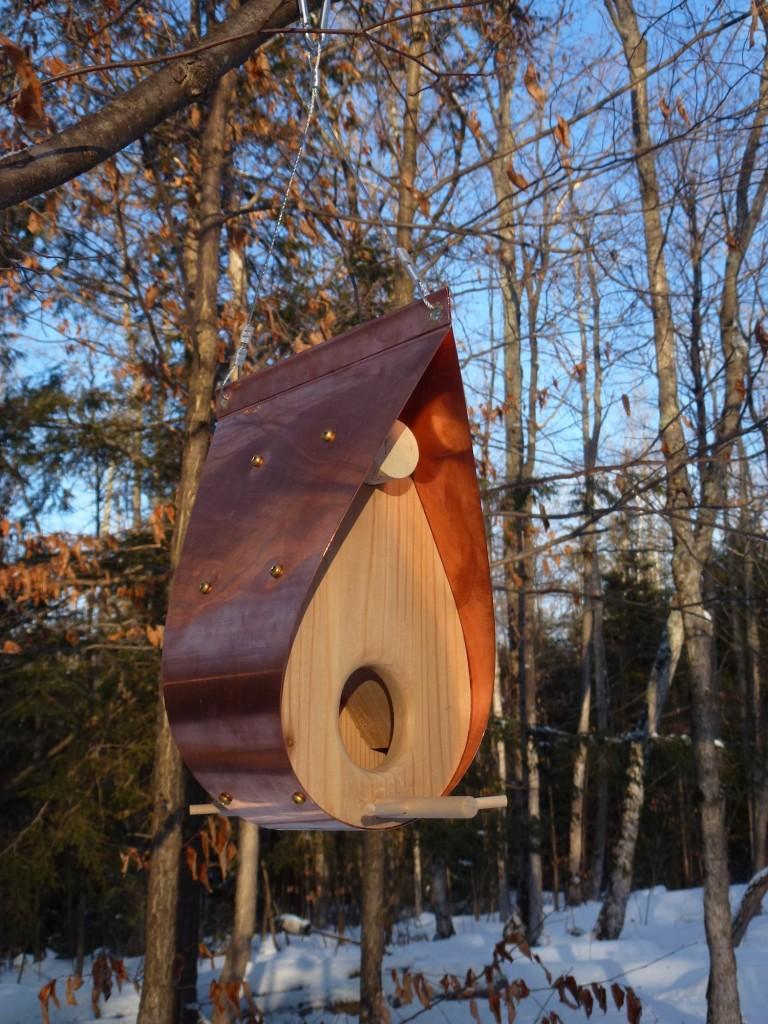 QnA Design Bird Feeder Copper Cedar 05 Teardrop