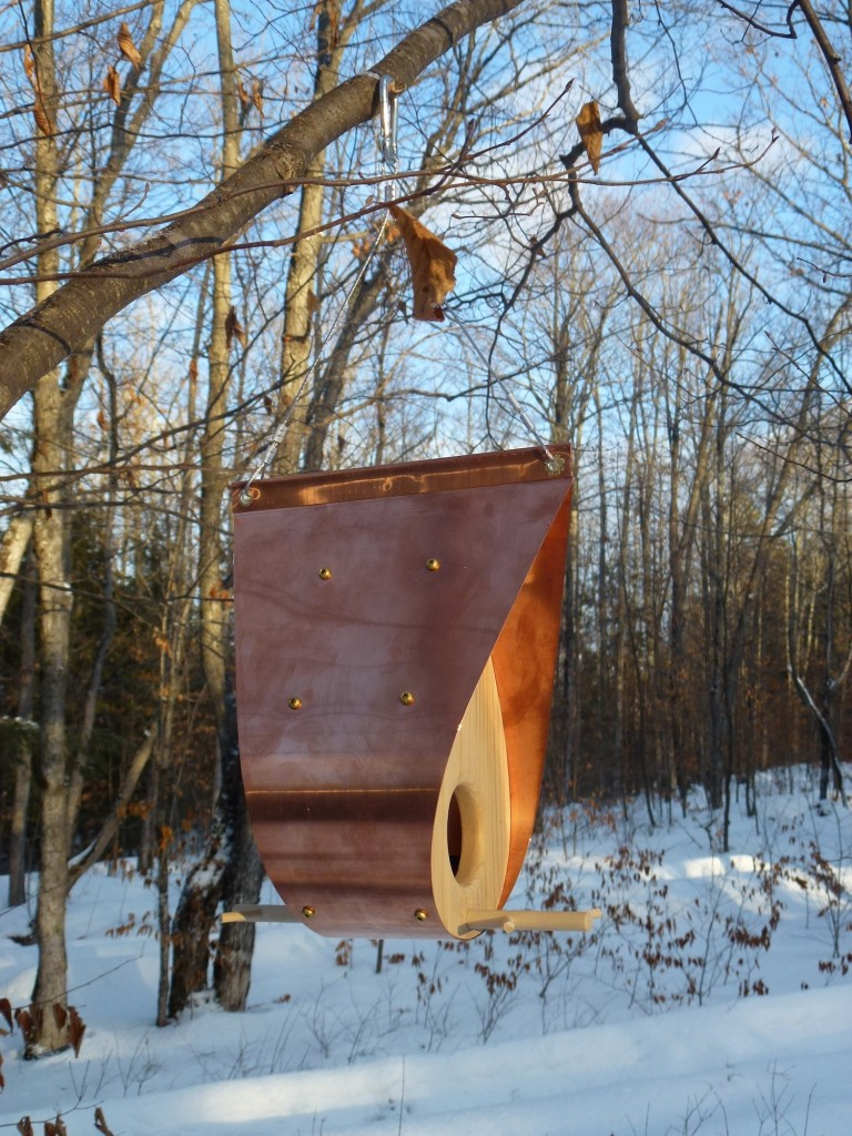 QnA Design Bird Feeder Copper Cedar 06 Teardrop
