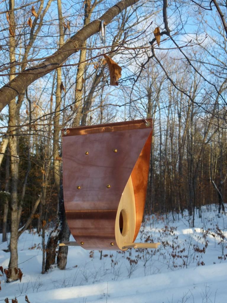 QnA Design Bird Feeder Copper Cedar 06 Teardrop