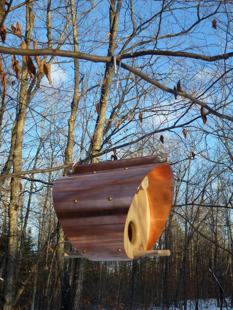 QnA Design Bird Feeder Copper Cedar 08 Barrel