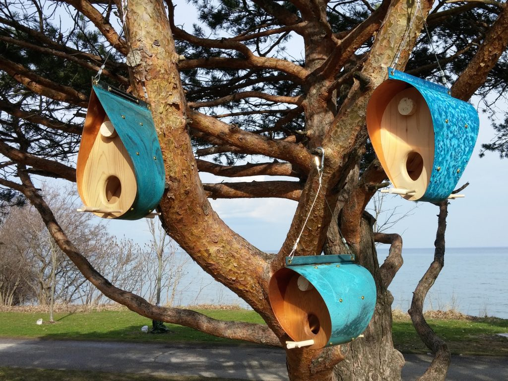 QnA Design Bird Feeder Oxidized Copper Cedar 11 Beaches family picture overall