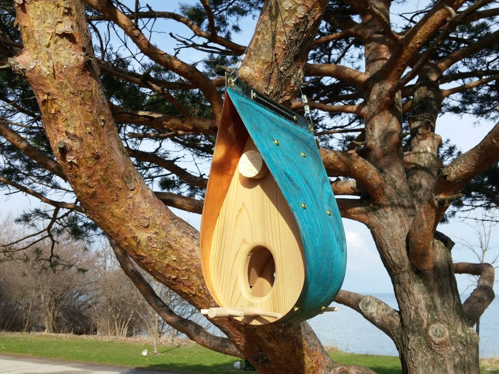QnA Design Bird Feeder Oxidized Copper Cedar 12 Beaches Teardrop