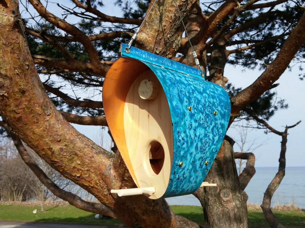QnA Design Bird Feeder Oxidized Copper Cedar 13 Beaches Bonnet