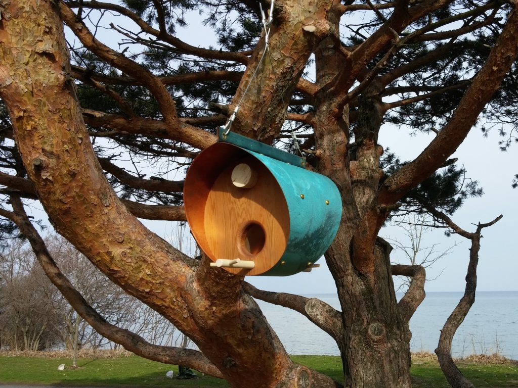 QnA Design Bird Feeder Oxidized Copper Cedar 14 Beaches Barrel