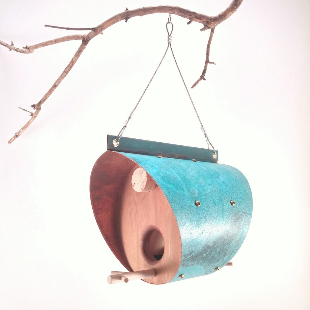 QnA Design Bird Feeder Oxidized Copper Cedar 24 Barrel