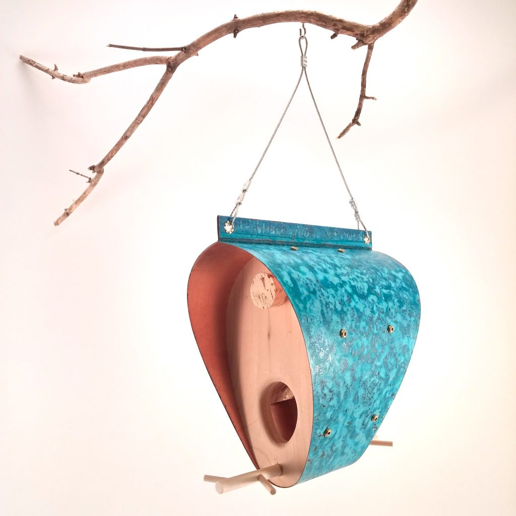 QnA Design Bird Feeder Oxidized Copper Cedar 28 Bonnet