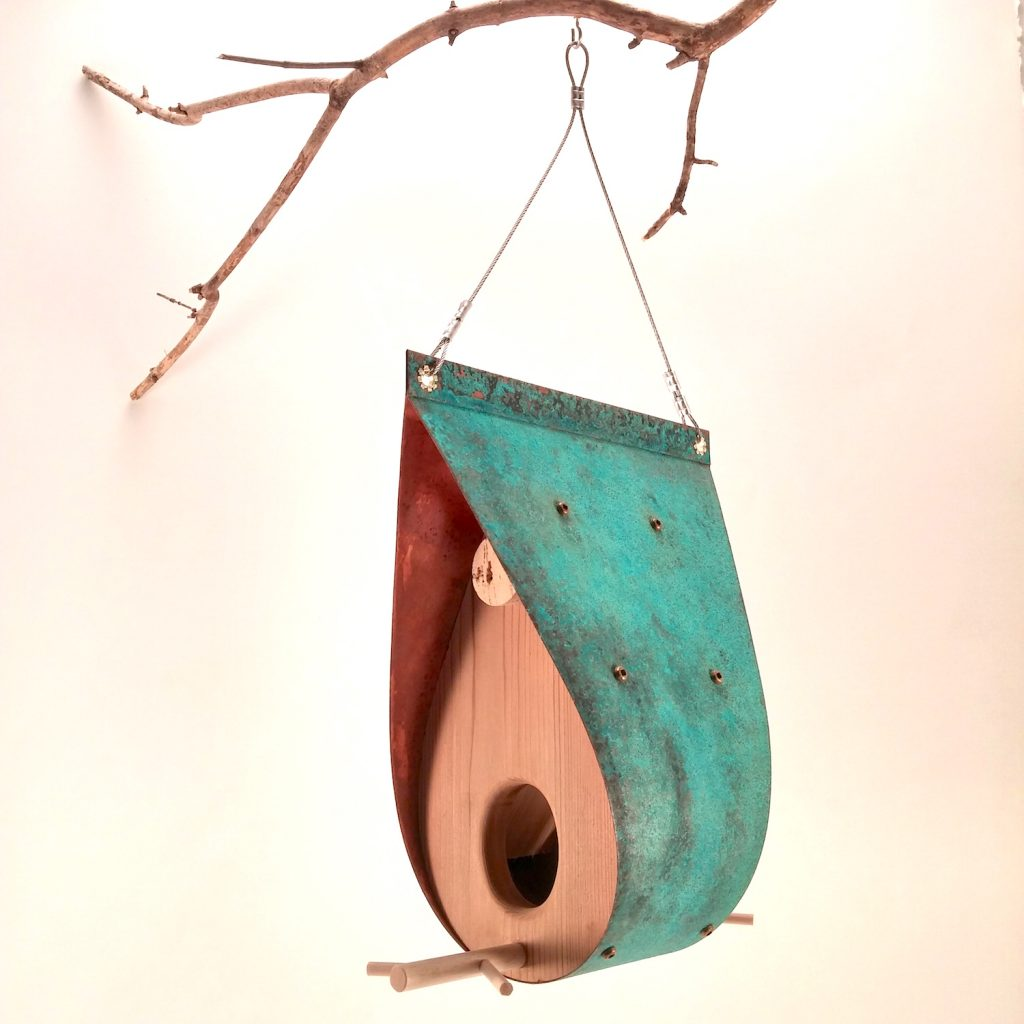 QnA Design Bird Feeder Oxidized Copper Cedar 55 Teardrop3 side1