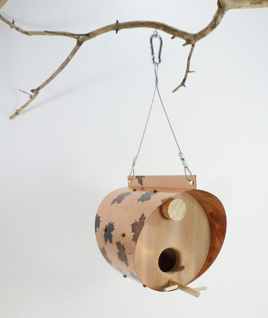 QnA Design Bird Feeder Patinated Copper Maple Leaf Cedar 60 Barrel