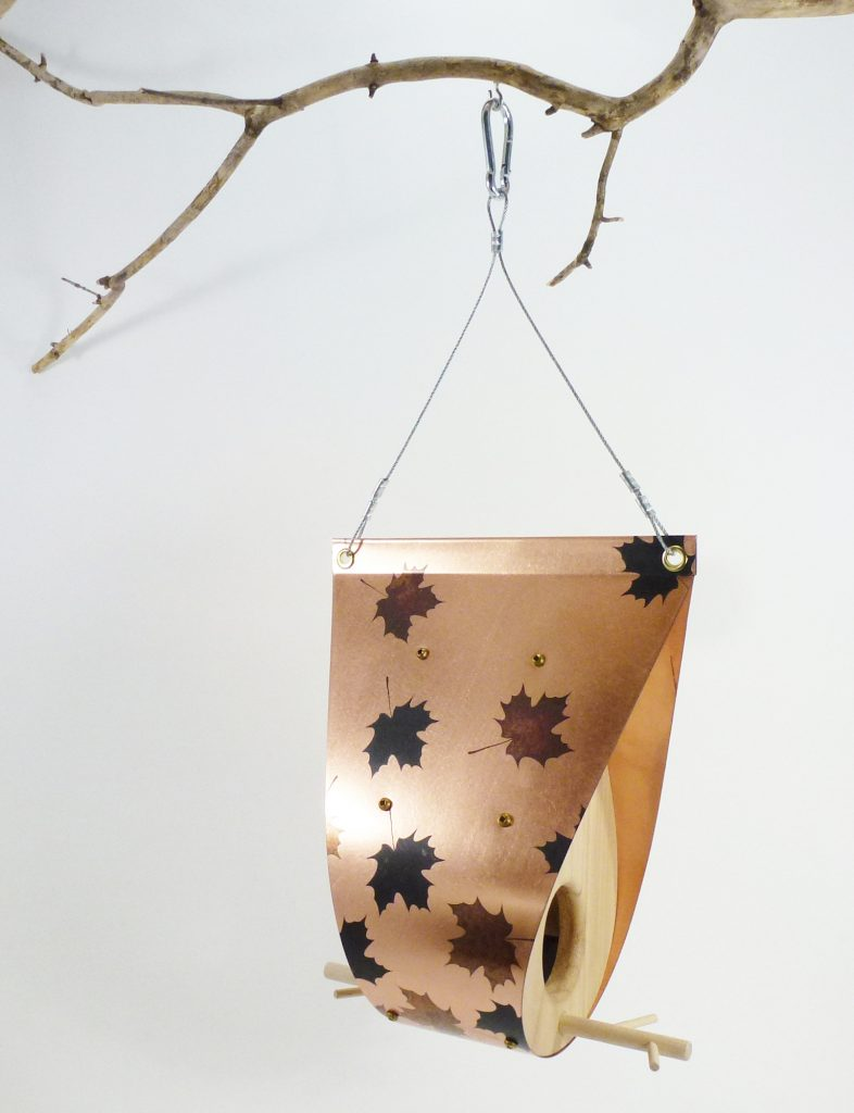 QnA Design Bird Feeder Patinated Copper Maple Leaf Cedar 63 Teardrop