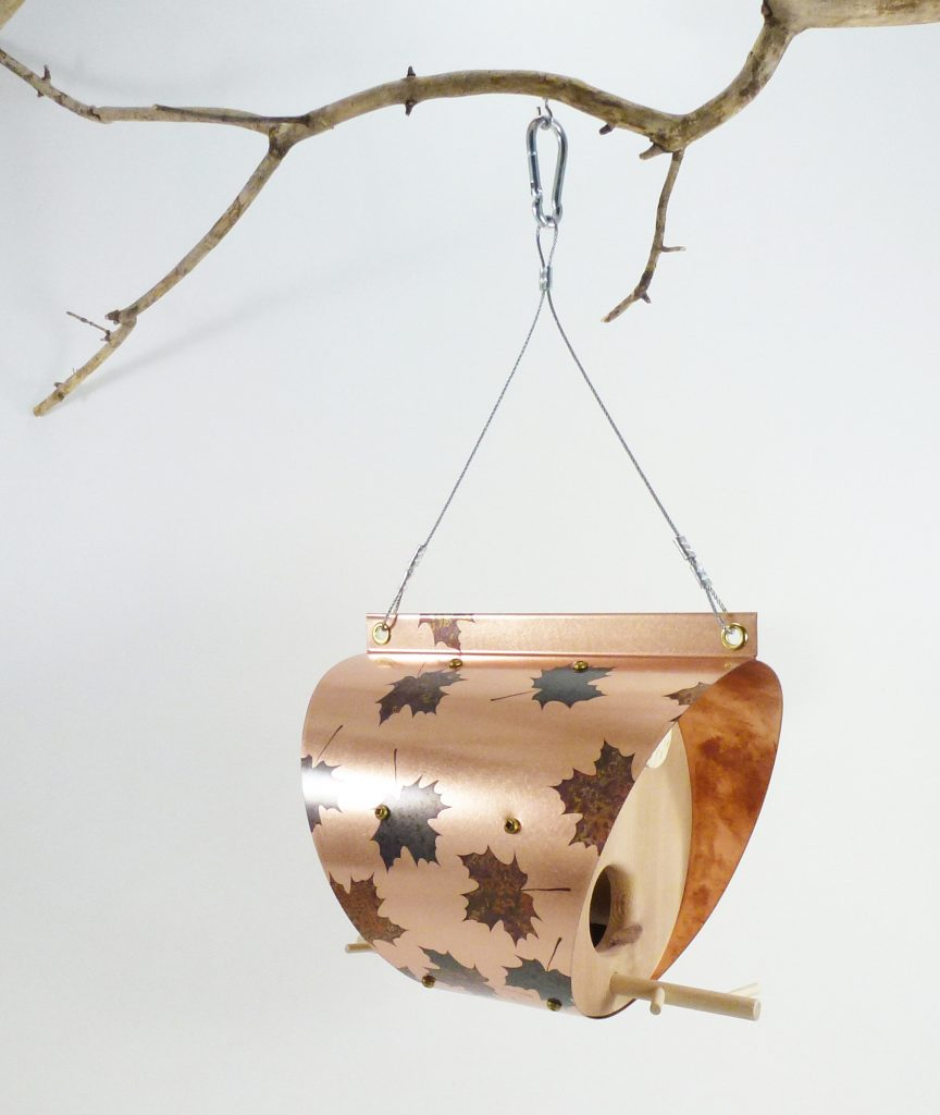 QnA Design Bird Feeder Patinated Copper Maple Leaf Cedar 64 Barrel