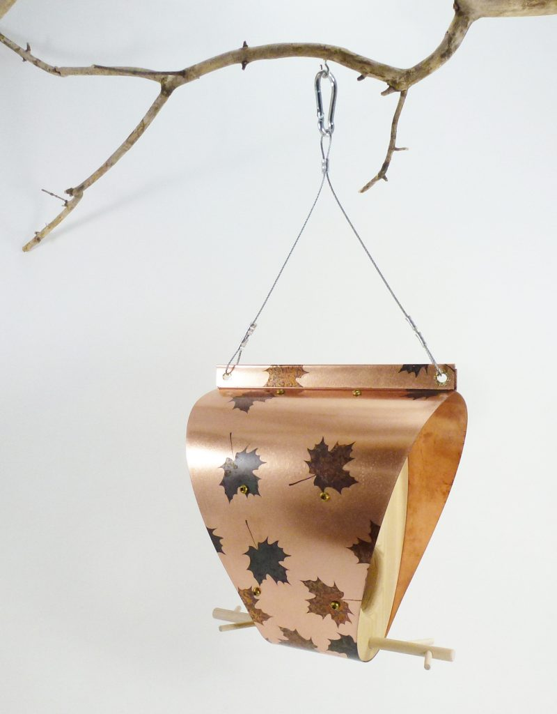 QnA Design Bird Feeder Patinated Copper Maple Leaf Cedar 65 Bonnet