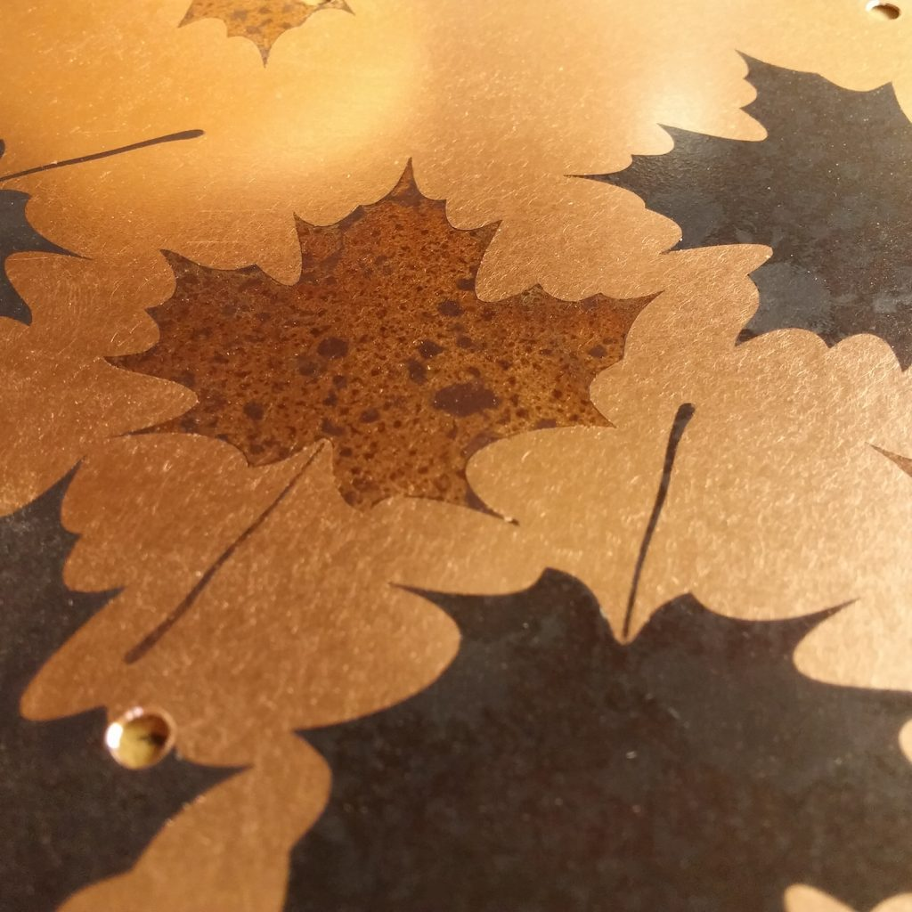 QnA Design Bird Feeder Patinated Copper Maple Leaf Cedar 67 detail