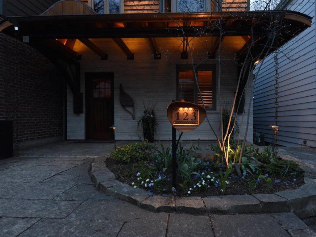 QnA Design HouseNbr 3 copper cedar custom post LED light