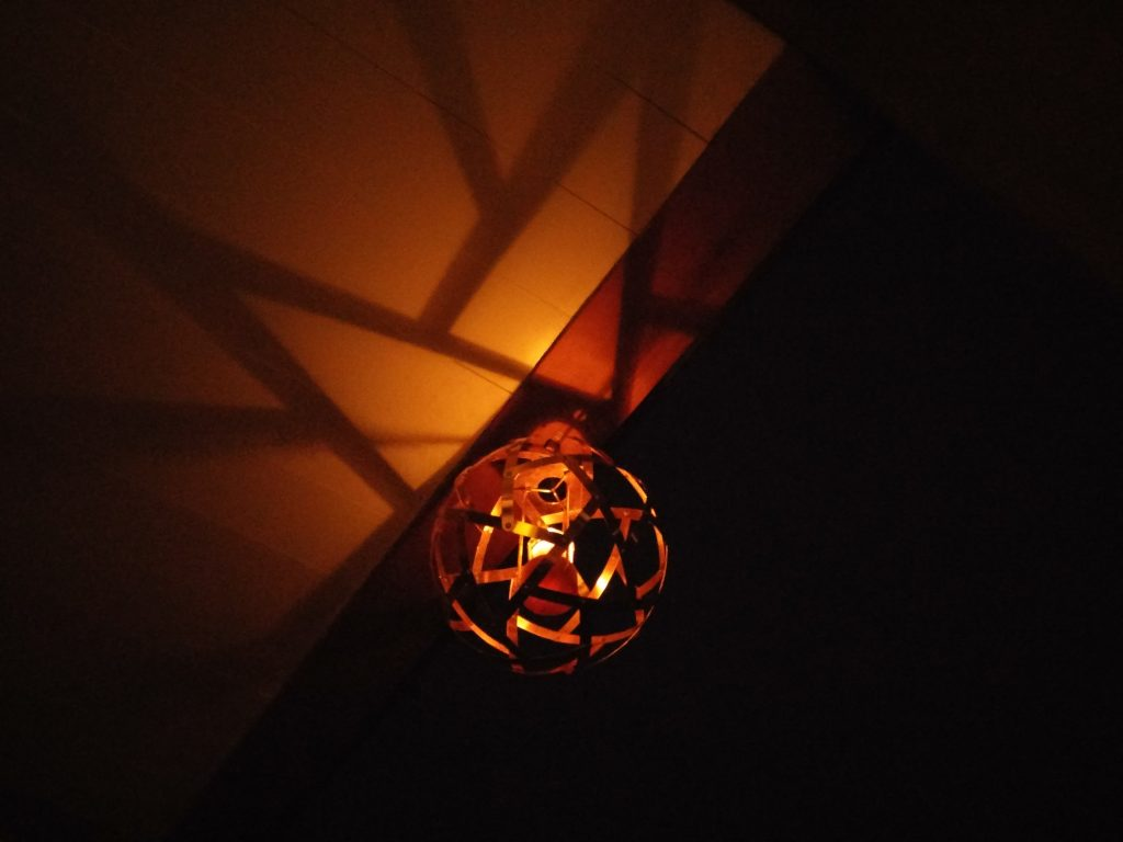 QnADesign Rotegrity Copper Hanging Lantern at night
