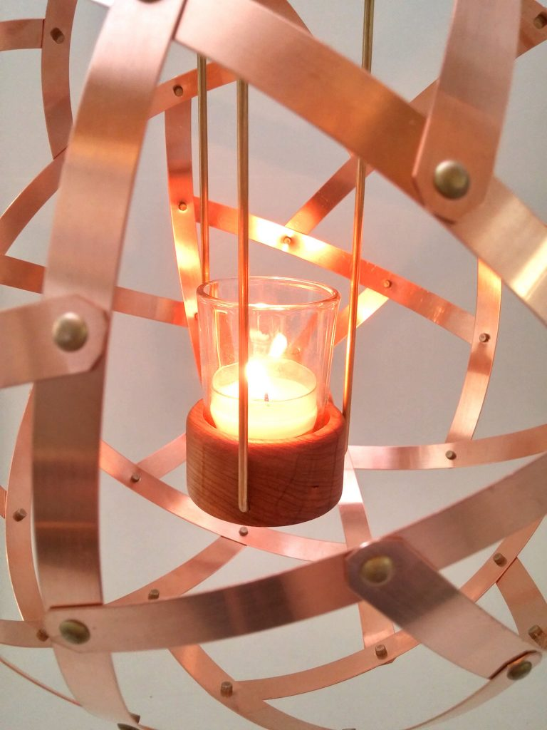 QnADesign Rotegrity Copper Hanging Lantern inside
