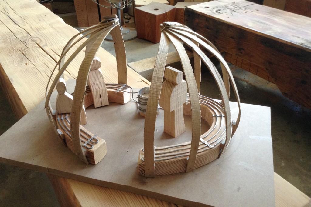 QnA Design Nuit Blanche Primal hug Heated bench Warming hut 05 model work in progress