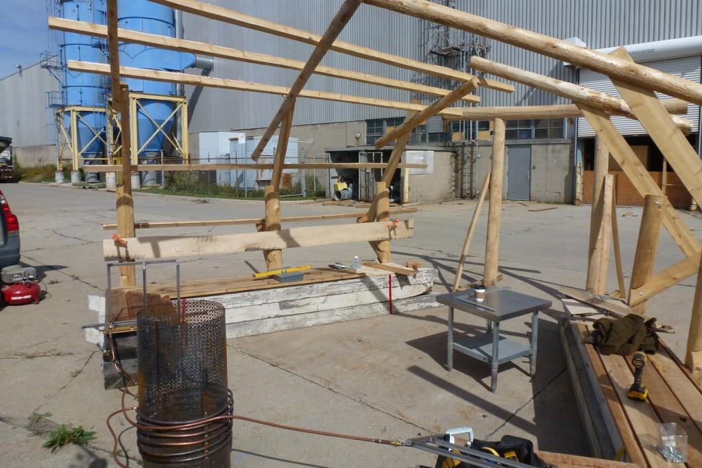 QnA Design Nuit Blanche Primal hug Heated bench Warming hut 07 work in progress