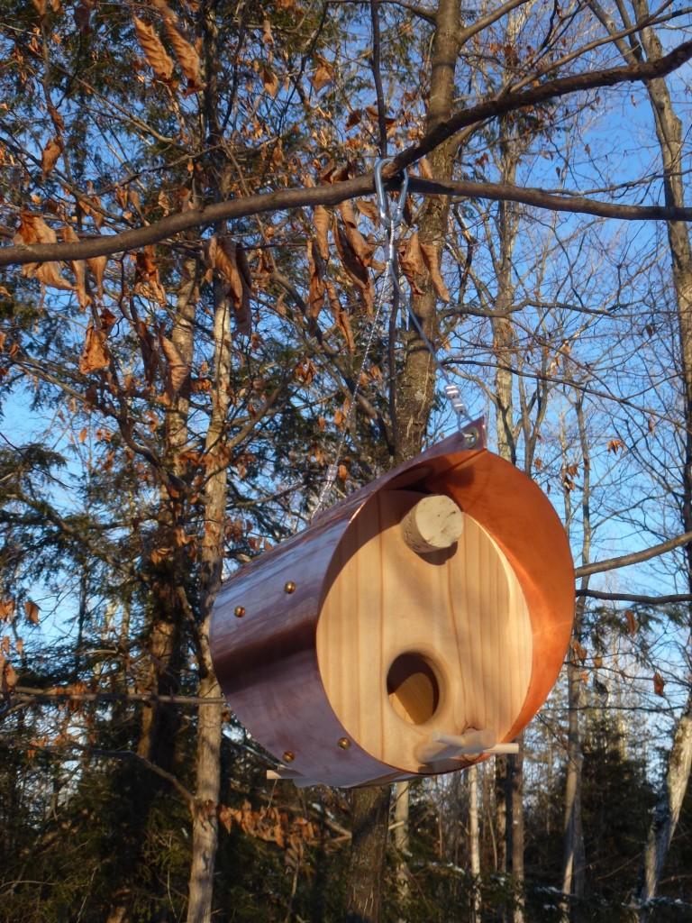 QnA Design Bird Feeder Copper Cedar 07 Barrel