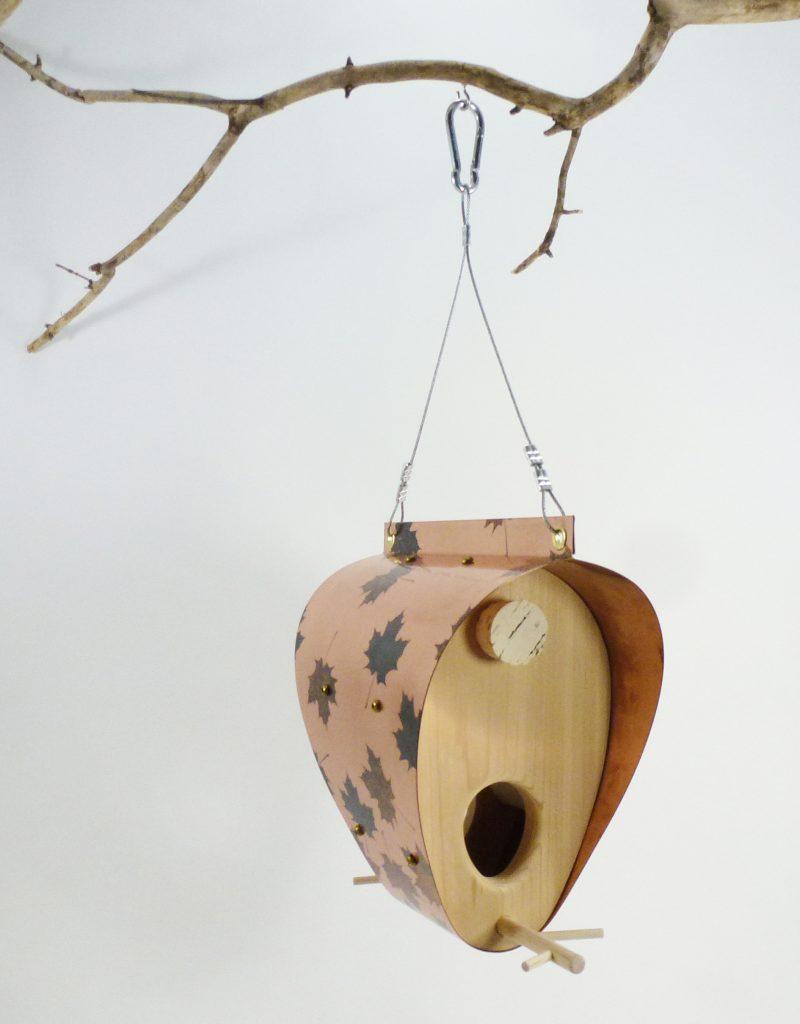 QnA Design Bird Feeder Patinated Copper Maple Leaf Cedar 61 Bonnet