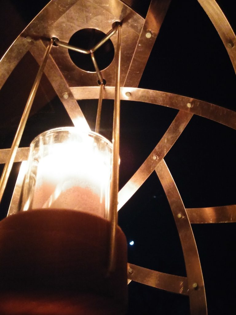 QnADesign Rotegrity Copper Hanging Lantern inside night