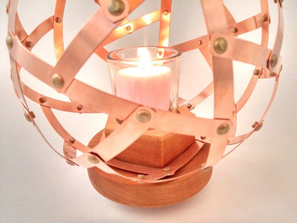 QnADesign Rotegrity Copper Table Lantern detail